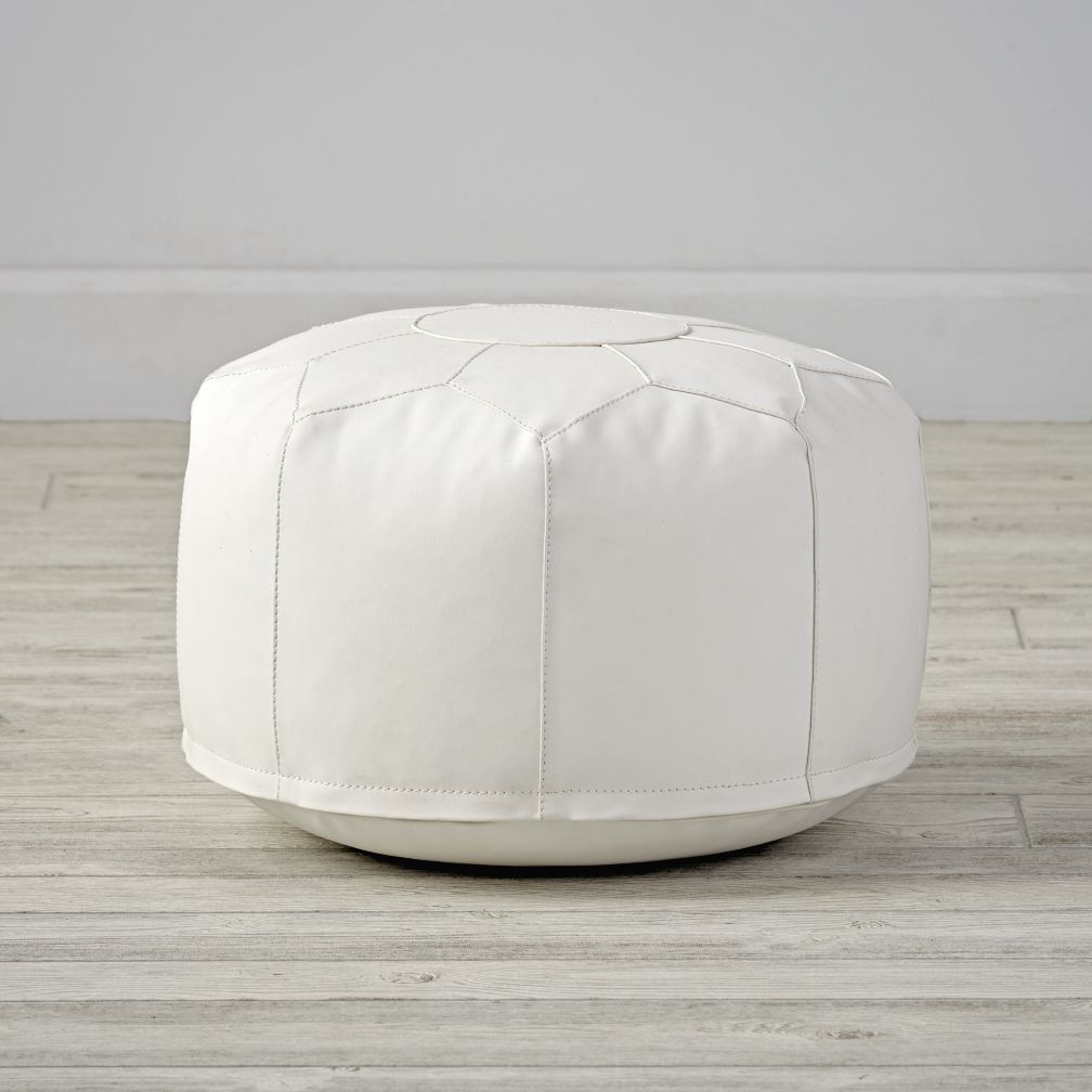 Faux Leather White Mini Pouf