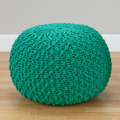 Pull Up a Pouf (Green Knit)