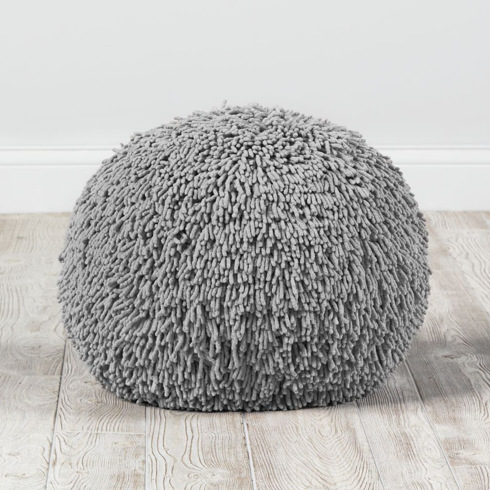 Shaggy Pouf Grey The Land Of Nod