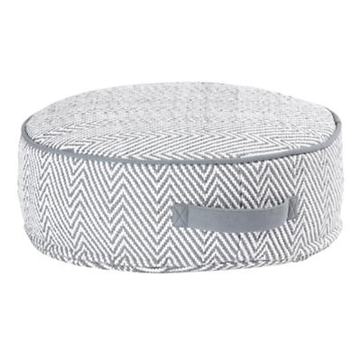 Small Grey Herringbone Pouf