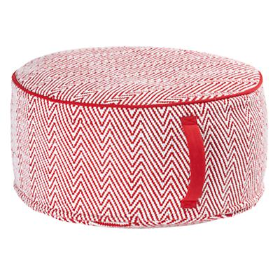 Large Red Herringbone Pouf