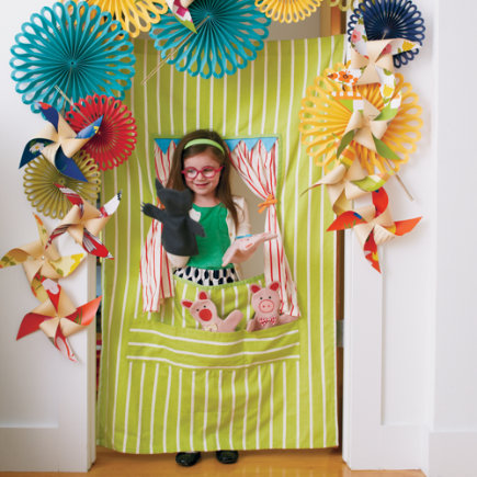 Kids Theater: Travel Hanging Puppet Theater - Fabric Doorway Puppet Theater