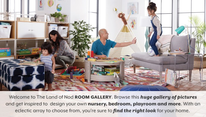 Welcome to The Land of Nod Room Gallery. Browse this huge gallery of pictures and get inspired to design your own nursery, bedroom or playroom.