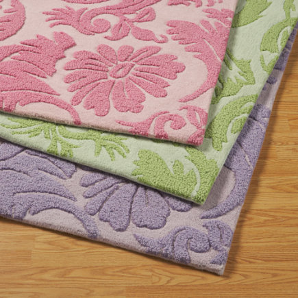 Kids Rugs: Girls Raised Floral Rug - 4 x 6 Pink Raised Floral Rug