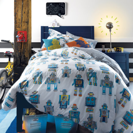 Kids Throw Pillows: Kids Robot Throw Pillows - Orange Robot Pillow