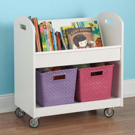 Kids Book Storage White Rolling Shelf And Bin Cart