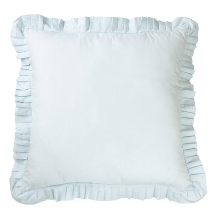Kids Pillows: Blue Bedding Ruffle Pillow Sham - Blue Ruffle Euro Sham