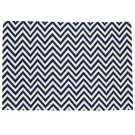 Kids Rugs: Dark Blue Chevron Patterned Rug - 4 x 6 Dk