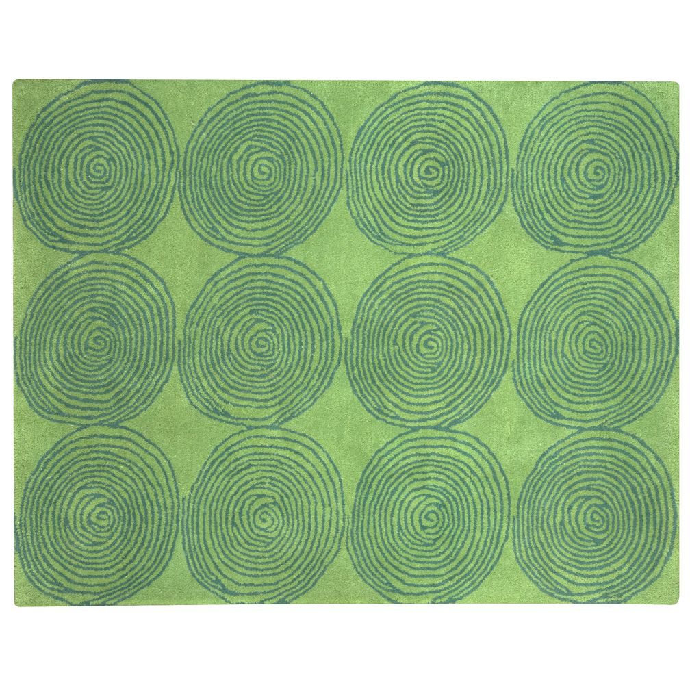 Kids Rugs: Kids Colorful Green Circle Designed Rug