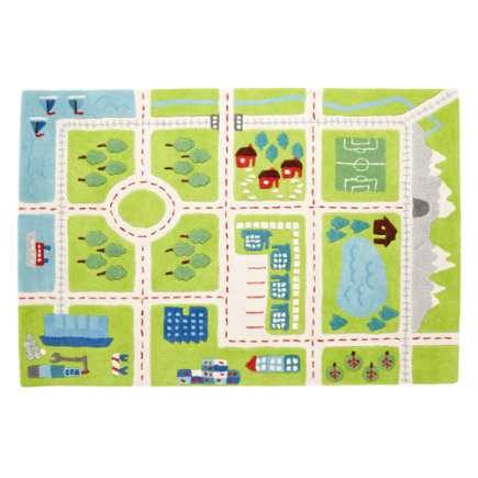 Kids Rugs: Kids Town Activity Rug Features Roads, Trees, Buildings And Lakes - 4 x 6 Green River Rug