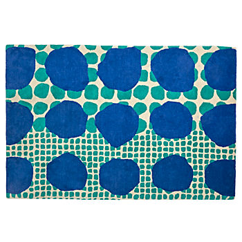 5 X8' Multi-Dot Blue & Green Rug
