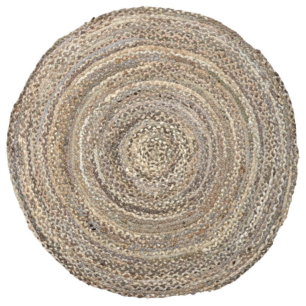 Ring Around the Ribbon Round Grey Rug