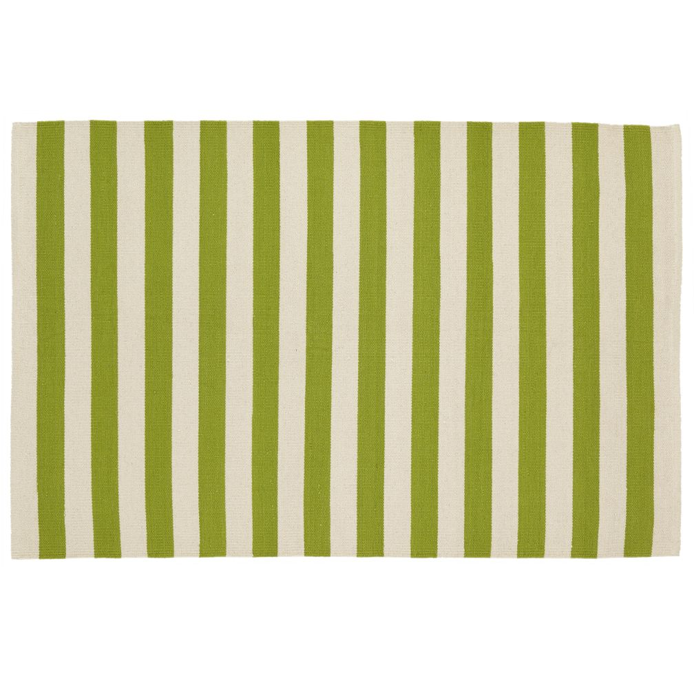 Kids Rugs: Green Striped Patterned Rug