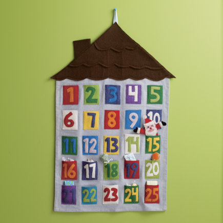Kids' Holiday Decor: Kids Felt Appliqued Christmas Advent Calendar - Santa Advent Calendar
