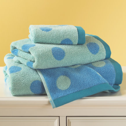 Kids Bath Towels Blue Dotted Dot Wash Cloth