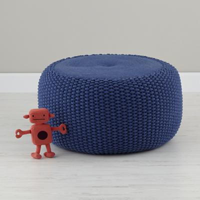 Pull Up a Pouf (Blue Braided)