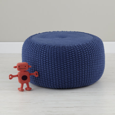 Kids Seating: Blue Knit Braided Pouf Seater - Blue Braided Pouf