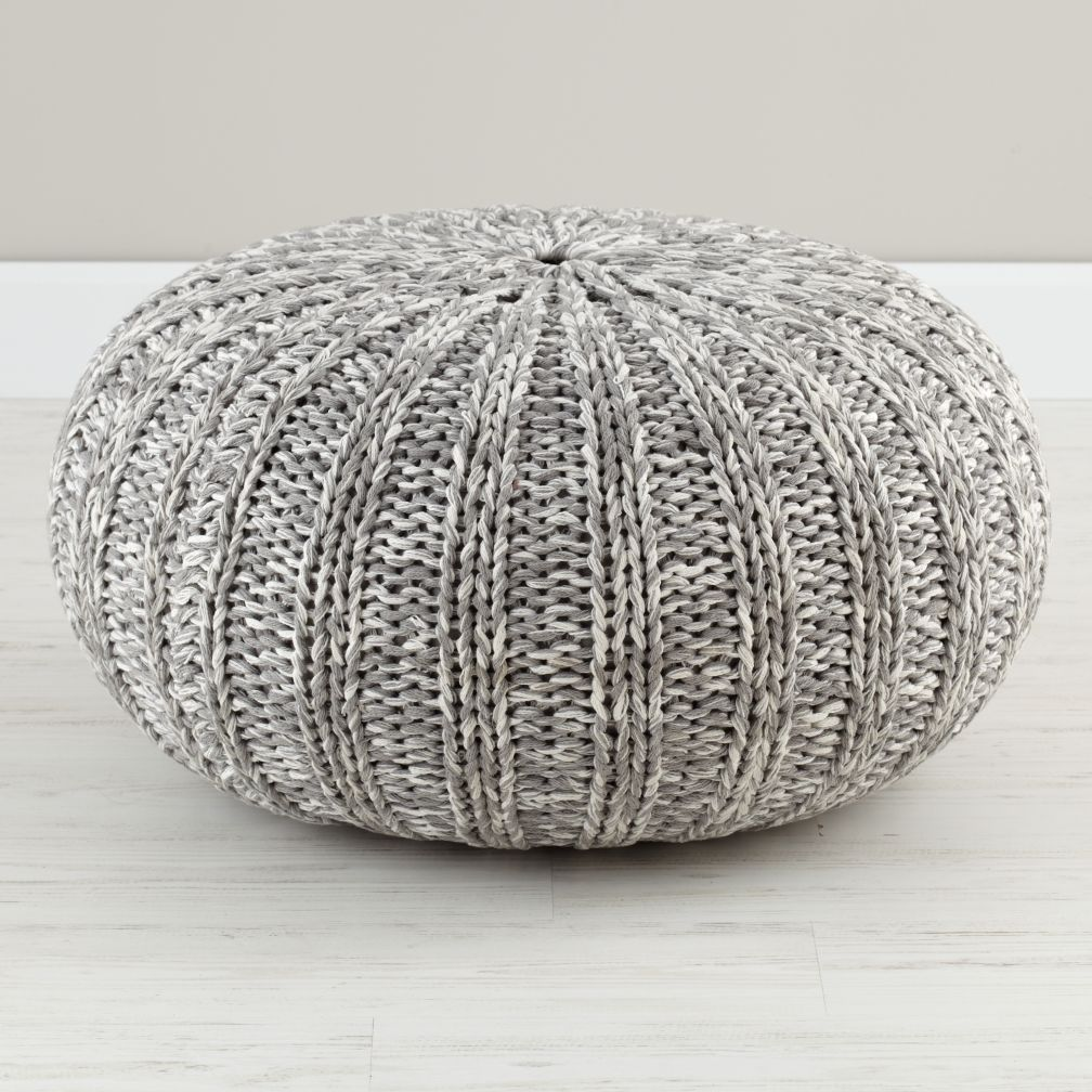variegated grey pouf the land of nod. Black Bedroom Furniture Sets. Home Design Ideas