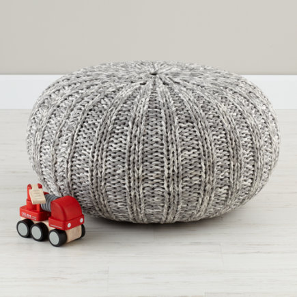 Kids Seating: Grey Variegated Pouf Seater - Variegated Grey Pouf