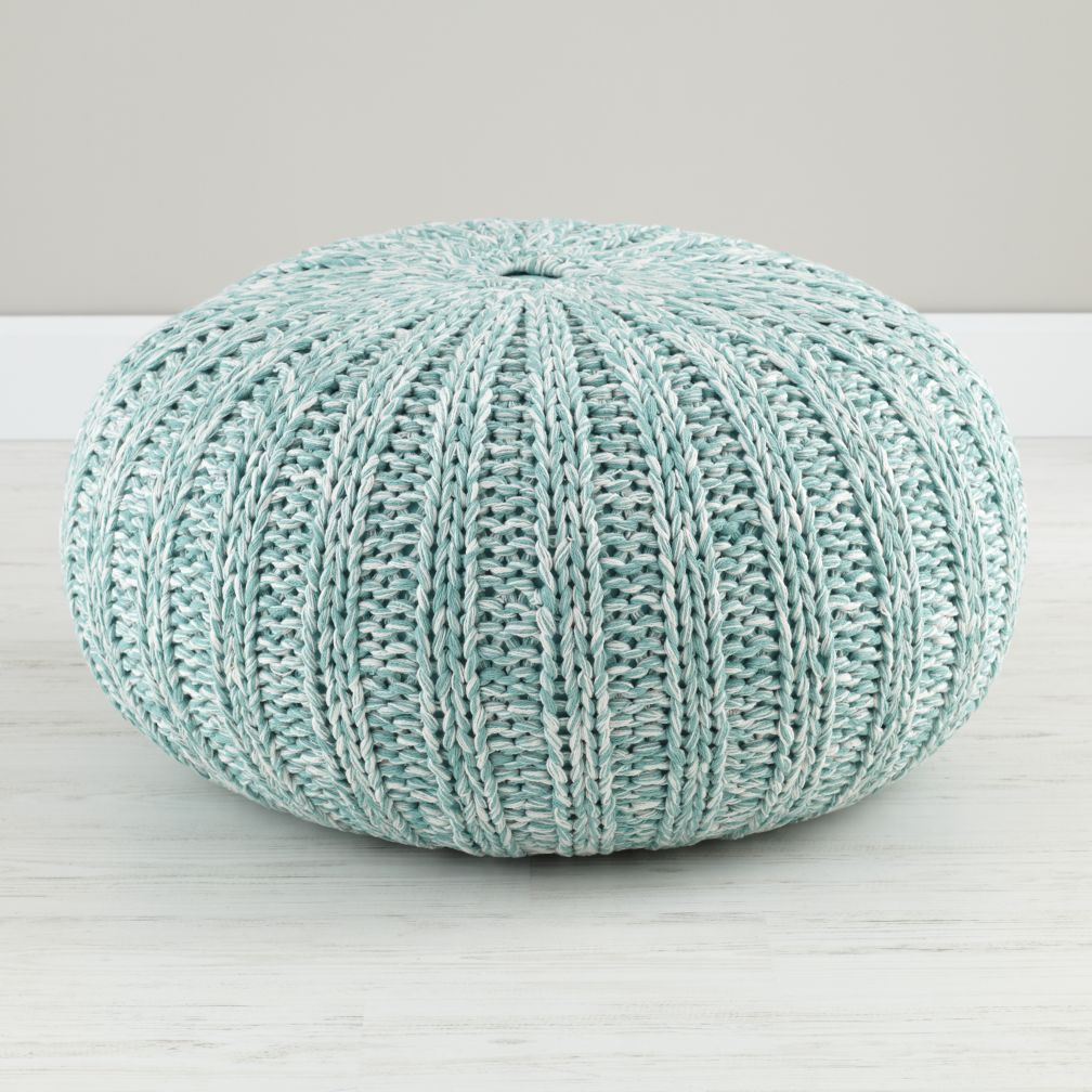 Variegated Aqua Pouf The Land Of Nod