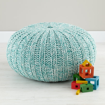 Kids Seating: Light Blue Variegated Pouf Seater - Variegated Aqua Pouf