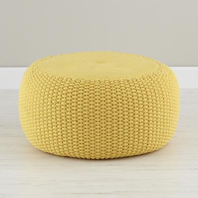 Yellow Braided Pouf