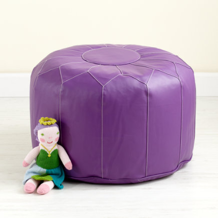 Kids Seating: Kids Purple Faux Leather Pouf Ottoman - Faux Leather Purple Pouf