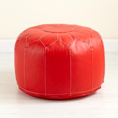 Faux Leather Pouf (Red)