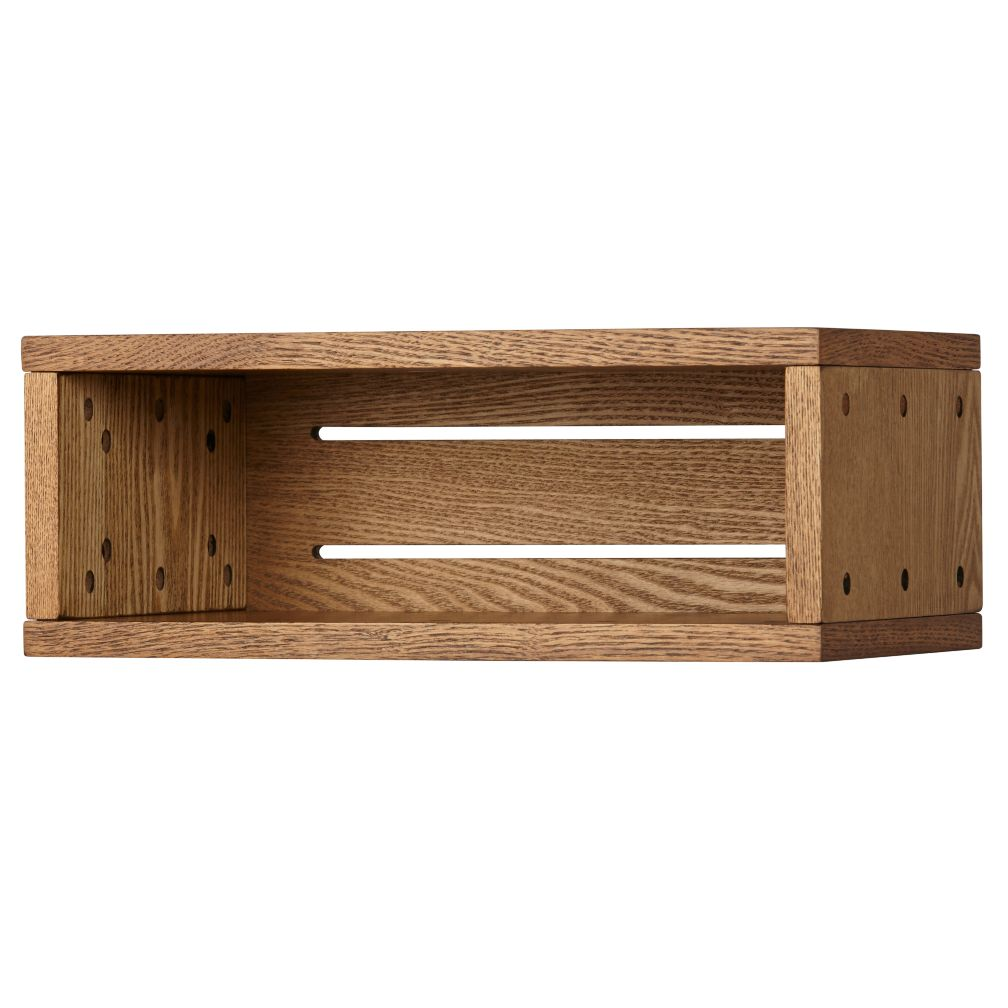 Small Cubby Narrow Wall Shelf (Wood Veneer, Small)