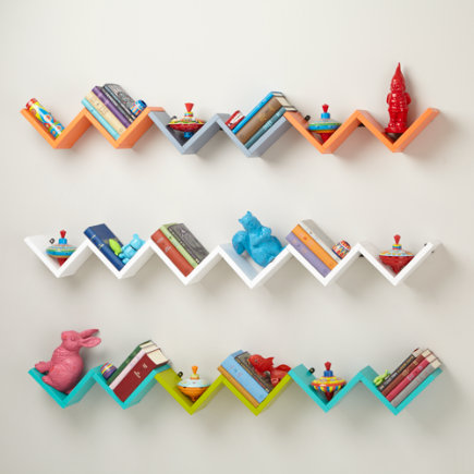 Zigzag Wall Shelf - Aqua Origami Wall Shelf