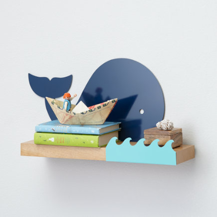 Kids Whale and Waves Wall Shelf - Whale Away Wall Shelf