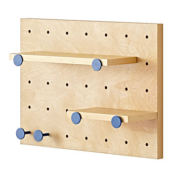 Pegboard and Shelves With 6 Blue Pegs