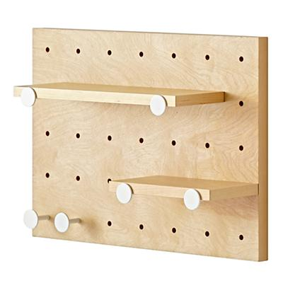 Pegboard and Shelves With 6 White Pegs
