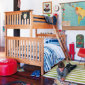 Kids Bunk Beds: Kids Twin-over-full Natural Simple Bunk Bed - Natural Twin-over-full Bunk Bed