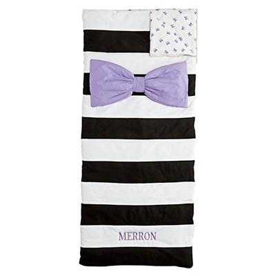 Personalized Candy Bow Sleeping Bag (Lavender)