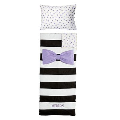 Personalized Candy Bow Sleeping Bag & Case Set (Lavender)