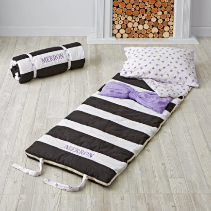 Personalized Lavender Candy Bow Sleeping Bag/ Pillowcase Set