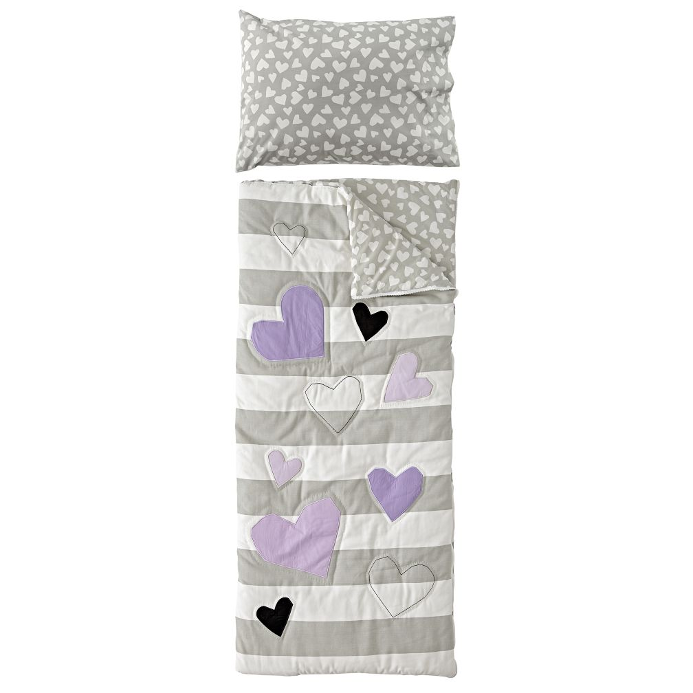 Hearts and Stripes Sleeping Bag and Pillowcase