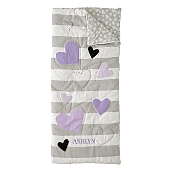 Hearts and Stripes Personalized Sleeping Bag