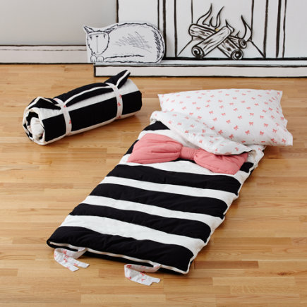 Personalized Pink Candy Bow Stripe Sleeping Bag and Pillow Case