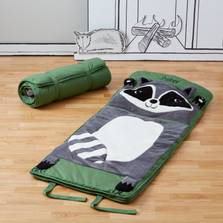 Kids Sleeping Bag: Raccoon - Personalized Green Raccoon Sleeping Bag