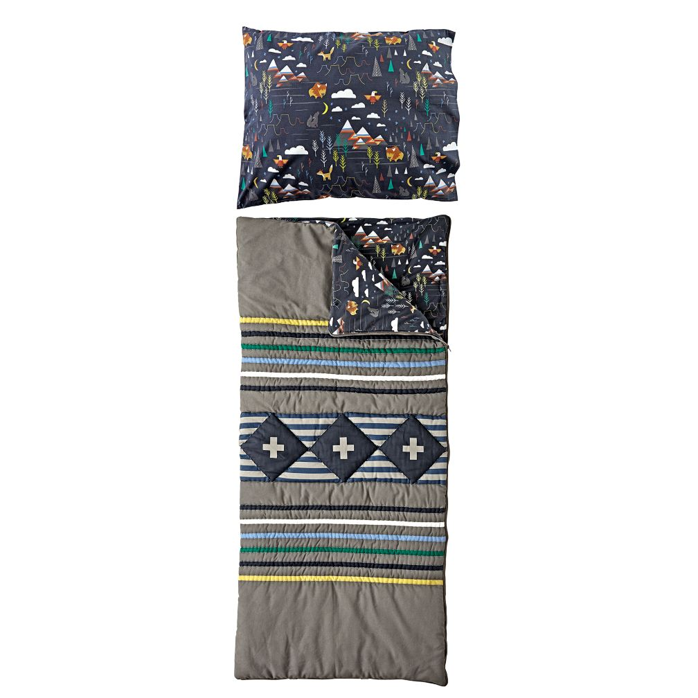 Wildwood Grey Sleeping Bag and Pillowcase