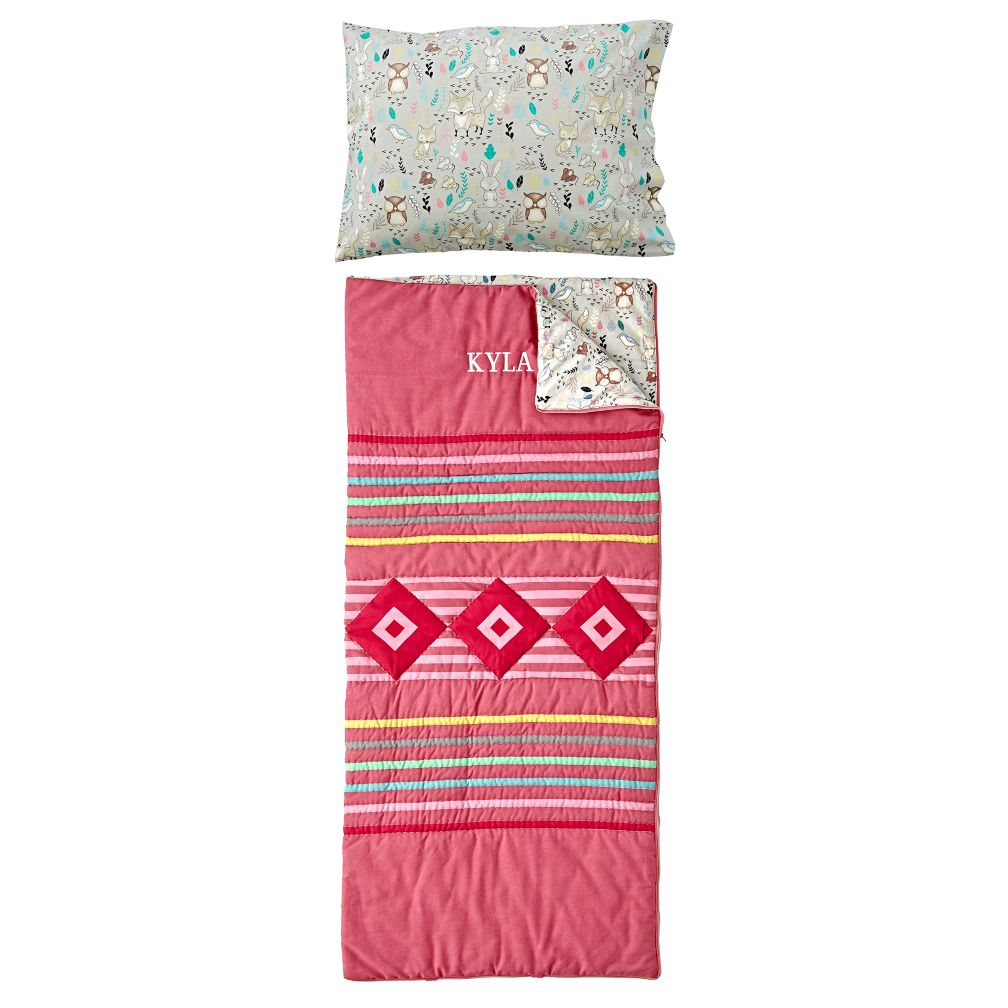 Wildwood Pink Personalized Sleeping Bag and Pillowcase