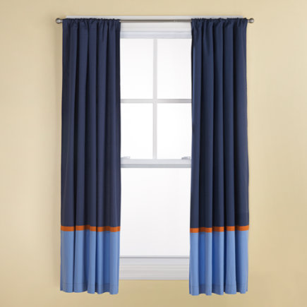 Kids Curtains: Kids Navy and Light Blue Curtains with Orange Trim - 63 Solar System Blue Curtain (Sold Individually)