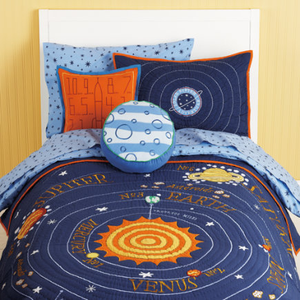 Kids' Bedding: Kids Blue Solar System Bedding - Twin Solar System Quilt