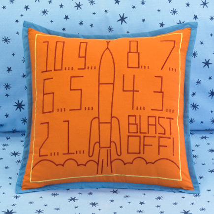 Kids Throw Pillows: Kids Space Ship Throw Pillow - Blast Off Throw Pillow