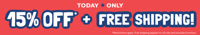 Today Only. 15% off plus free shipping! Restrictions apply. Free shipping excludes furniture.