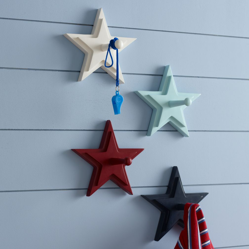 Kids' Clothes Trees & Wall Pegs: Kids Hand-Painted Wooden Star Wall Pegs