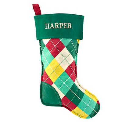 On the Bright Side Personalized Stocking (Argyle)