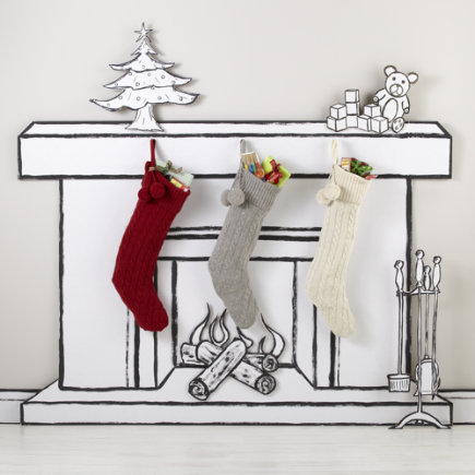 Christmas Stockings: Red Cable Knit Stocking - Red Cable Knit Stocking